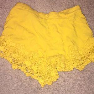 Golden yellow flowy shorts